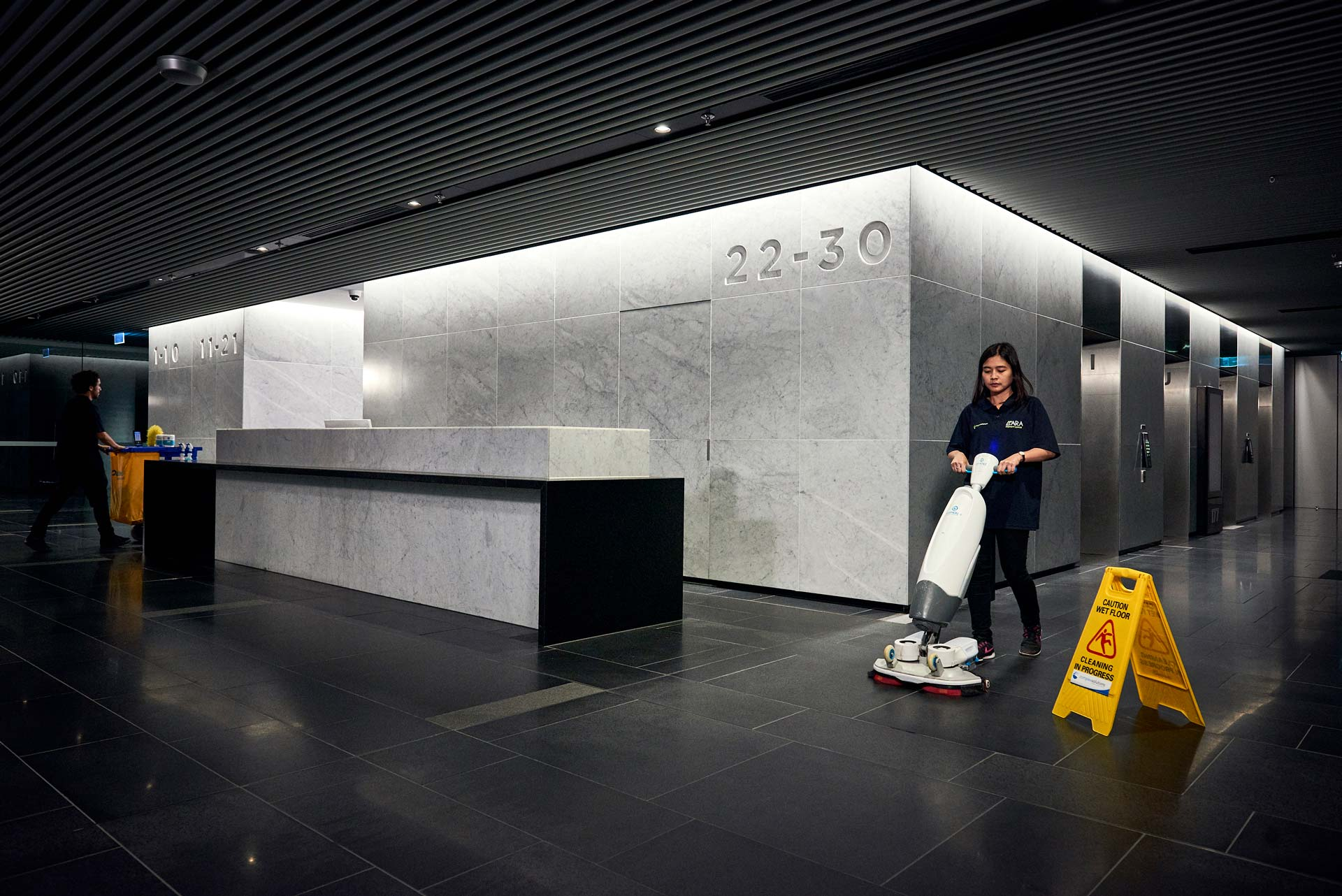 Commercial Cleaning and Corporate Cleaners in building lobby